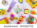 Colorful Baby Toys On White....