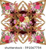 illustration with floral... | Shutterstock .eps vector #591067754
