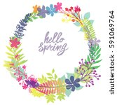 circle frame hello spring... | Shutterstock .eps vector #591069764
