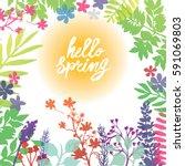 hello spring frame spring...   Shutterstock .eps vector #591069803