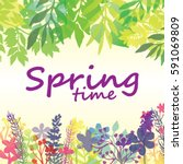 springtime floral background... | Shutterstock .eps vector #591069809