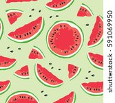 slice of watermelon   seamless... | Shutterstock .eps vector #591069950