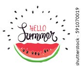 funny summer hand drawing... | Shutterstock .eps vector #591070019