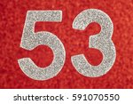 number fifty three silver color ... | Shutterstock . vector #591070550