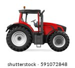 Red Tractor Isolated. 3d...