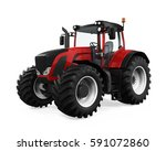 red tractor isolated. 3d... | Shutterstock . vector #591072860