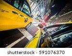 Small photo of NEW YORK, USA - October 17, 2016. Wide view from the Backseat of a Yellow Cab in NYC, Manhattan.