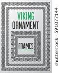 viking ornament square frames.... | Shutterstock .eps vector #591077144