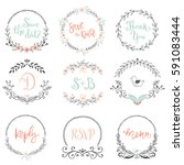 floral wreaths and frames... | Shutterstock .eps vector #591083444