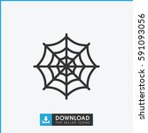 spider web icon. simple outline ... | Shutterstock .eps vector #591093056