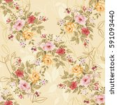 seamless floral pattern with... | Shutterstock .eps vector #591093440