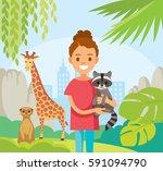 girl with baby raccoon in... | Shutterstock .eps vector #591094790