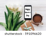 happy womens day text sign on... | Shutterstock . vector #591096620