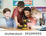 pupils in science lesson... | Shutterstock . vector #591099593