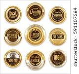 sale retro vintage golden... | Shutterstock .eps vector #591107264