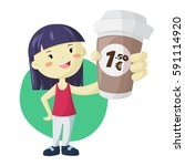 young asian girl with big paper ... | Shutterstock .eps vector #591114920