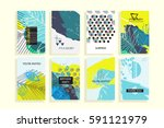 universal floral posters set.... | Shutterstock .eps vector #591121979