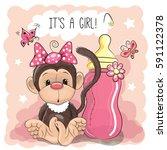 cute cartoon monkey girl with... | Shutterstock . vector #591122378