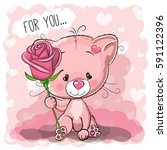 greeting card cute cartoon cat... | Shutterstock . vector #591122396