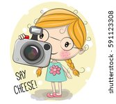 cute cartoon girl with a camera ... | Shutterstock . vector #591123308