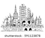 city illustration with lots of... | Shutterstock .eps vector #591123878
