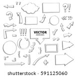 set of hand drawn doodle arrows.... | Shutterstock .eps vector #591125060