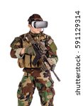 soldier wearing virtual reality ... | Shutterstock . vector #591129314