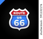 route 66 road sign or shied icon | Shutterstock .eps vector #591132176