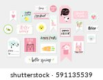 abstract blue green yellow pink ... | Shutterstock .eps vector #591135539