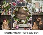 the florist desktop with...   Shutterstock . vector #591139154