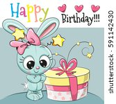 greeting card cute rabbit with... | Shutterstock . vector #591142430