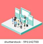 isometric flat 3d concept... | Shutterstock .eps vector #591142700