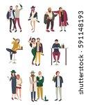 drunk people in various... | Shutterstock .eps vector #591148193