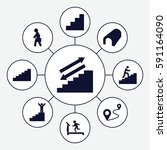 walk icons set. set of 9 walk... | Shutterstock .eps vector #591164090