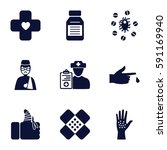pain icons set. set of 9 pain... | Shutterstock .eps vector #591169940