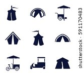 tent icons set. set of 9 tent... | Shutterstock .eps vector #591170483
