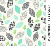 seamless pattern with leaves | Shutterstock .eps vector #591172334