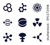 atom icons set. set of 9 atom... | Shutterstock .eps vector #591172448