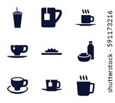 coffee icons set. set of 9... | Shutterstock .eps vector #591173216