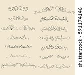 set of hand drawn vector... | Shutterstock .eps vector #591174146