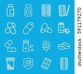 pill icons set. set of 16 pill... | Shutterstock .eps vector #591179270