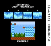 sprite sheet of a waterfall or...