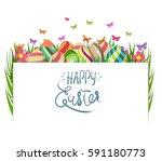 handwriting inscription happy...   Shutterstock .eps vector #591180773