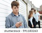 teenage boy victim of bullying...   Shutterstock . vector #591183263