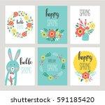 hello spring floral card set.... | Shutterstock .eps vector #591185420