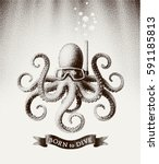 octopus wearing a mask for... | Shutterstock .eps vector #591185813