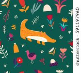 seamless pattern with crocodile.... | Shutterstock .eps vector #591197960