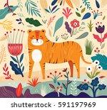 vector illustration with tiger... | Shutterstock .eps vector #591197969
