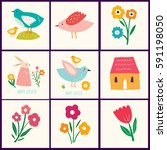 collection of cute happy easter ... | Shutterstock .eps vector #591198050