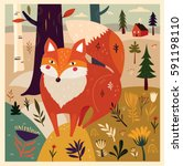 cute fox in forest. vector... | Shutterstock .eps vector #591198110